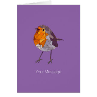 Geometric Style Red Robin Card