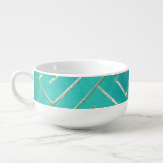 Geometric Teal Soup Mug