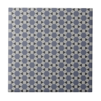 Geometric Tessellation Pattern in Grey and Blue Small Square Tile