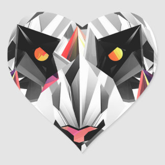 Geometric Tiger Heart Sticker
