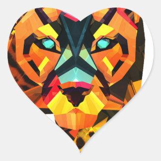 Geometric Tiger Prowl Heart Sticker