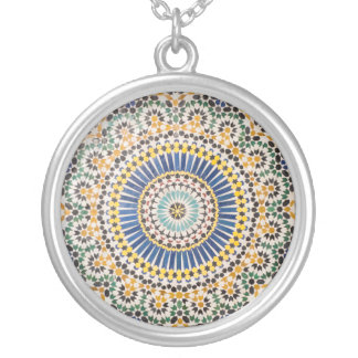 Geometric tile pattern, Morocco Silver Plated Necklace