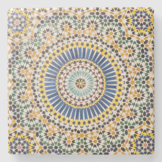 Geometric tile pattern, Morocco Stone Beverage Coaster