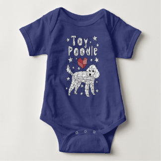 Geometric Toy Poodle Baby Bodysuit