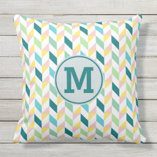 Geometric Triangle Pattern Teal Pink Mint Monogram Outdoor Cushion