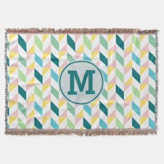 Geometric Triangle Pattern Teal Pink Mint Monogram Throw Blanket