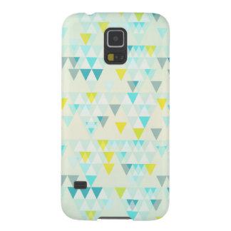 Geometric Triangles Aqua Blue White Yellow Pattern Galaxy S5 Cover