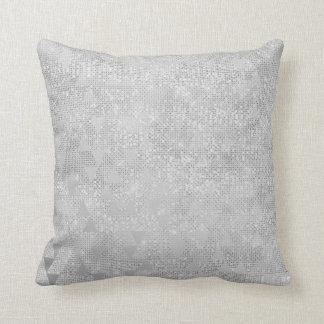 Geometric Triangles Charcoal Gray Silver Cushion