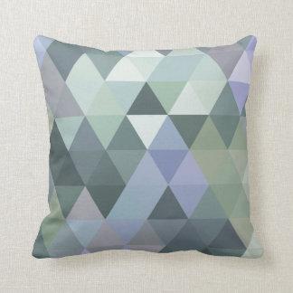Geometric Triangles Foggy Morning Blues Cushion