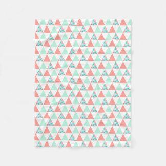 Geometric Triangles Mint Green Coral Pink Pattern Fleece Blanket