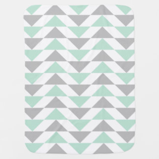 Geometric Triangles Mint Green Gray White Pattern Baby Blanket