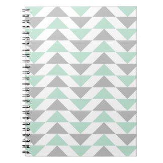 Geometric Triangles Mint Green Gray White Pattern Notebooks