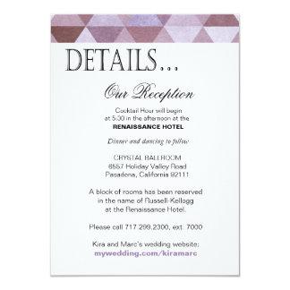 Geometric Triangles Reception Details   periwinkle 11 Cm X 16 Cm Invitation Card