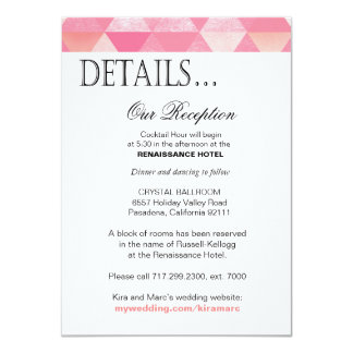 Geometric Triangles Reception Details   pink mauve 11 Cm X 16 Cm Invitation Card