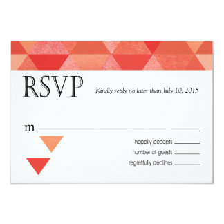 Geometric Triangles RSVP Response Card | coral 9 Cm X 13 Cm Invitation Card