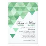 Geometric Triangles Wedding | mint green 13cm X 18cm Invitation Card