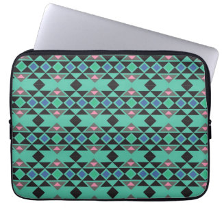 Geometric tribal aztec andes hipster teal pattern computer sleeves