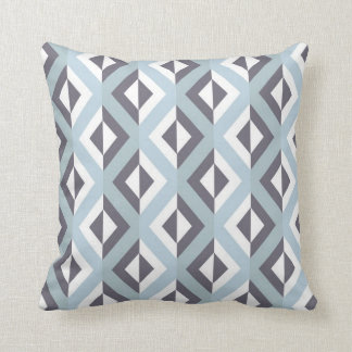 Geometric Tribal Diamond Pattern Blue Cushion