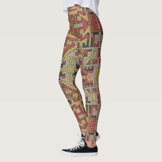 Geometric Tribal/Ethnic Pattern, Muted colors Leggings