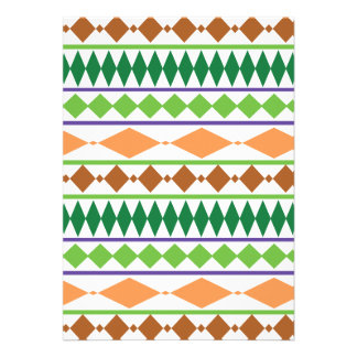 Geometric Tribal Pattern Green Rust Coral Personalized Invites