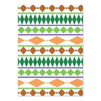 """Geometric Tribal Pattern Green Rust Coral 5"""" X 7"""" Invitation Card"""