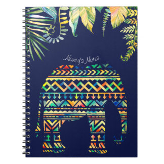 Geometric Tribal Pattern Jungle Elephant Notebook
