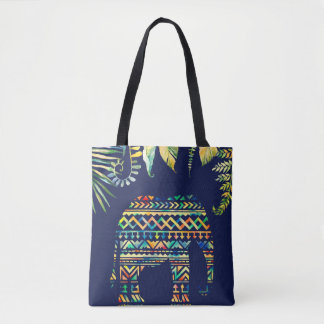 Geometric Tribal Pattern Jungle Elephant Tote Bag