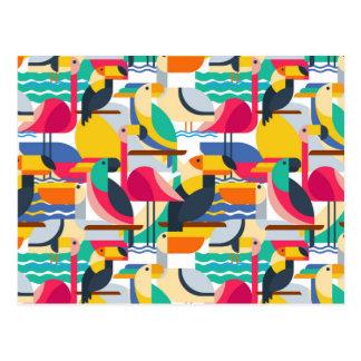 Geometric Tropical Birds Postcard