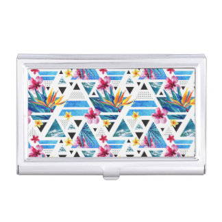 Geometric Tropical Flowers Pattern Business Card Holder