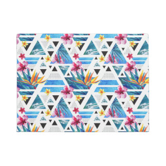 Geometric Tropical Flowers Pattern Doormat