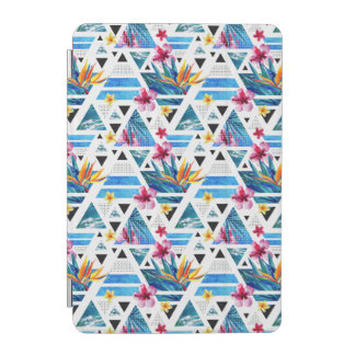 Geometric Tropical Flowers Pattern iPad Mini Cover