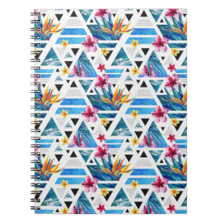 Geometric Tropical Flowers Pattern Notebook