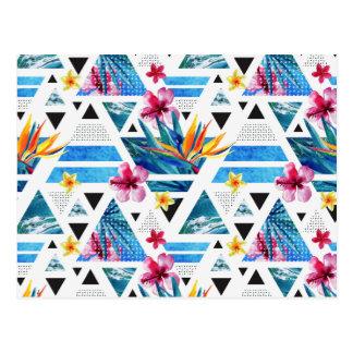 Geometric Tropical Flowers Pattern Postcard