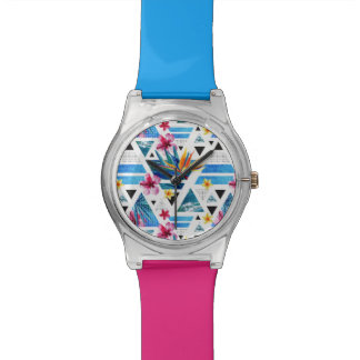 Geometric Tropical Flowers Pattern Watch