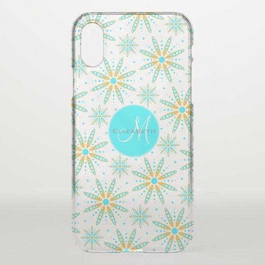 geometric turquoise orange snowflakes monogrammed iPhone x case