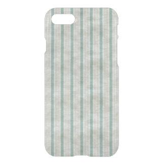 Geometric Vertical Aqua & White Linen Stripes iPhone 7 Case