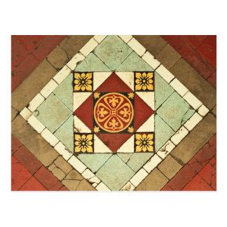 geometric victorian floral ceramic tile design postcard