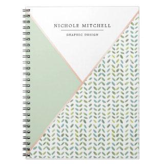 Geometric Watercolor Leaf Pattern Notebook