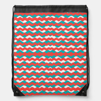 Geometric Waves Pattern Drawstring Bag
