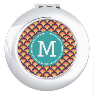 Geometric Waves Personalize with Name Monogram Travel Mirror