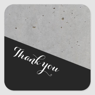 Geometric Wedding Concrete Thank you Square Sticker