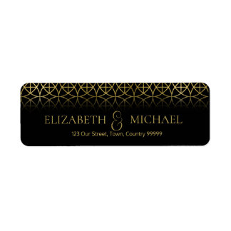 Geometric Wedding Return Address Gold/Black ID477 Return Address Label
