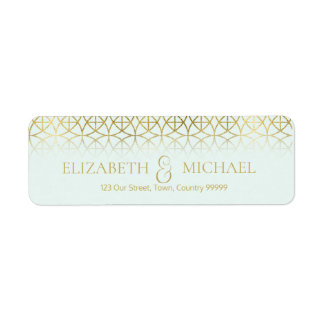 Geometric Wedding Return Address Gold/Mint ID477 Return Address Label