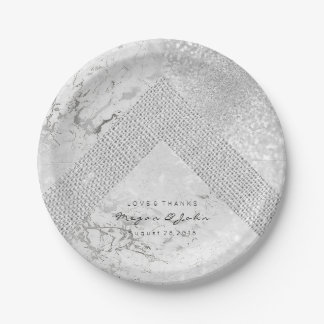 Geometric White Glitter Silver Gray Marble Linen Paper Plate