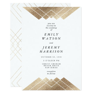 Geometric White Gold Gatsby Wedding Invitation
