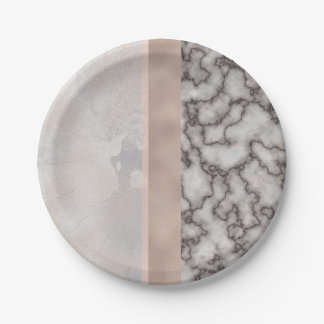 Geometric White Gray Carrara Gold Marble Pink Rose 7 Inch Paper Plate