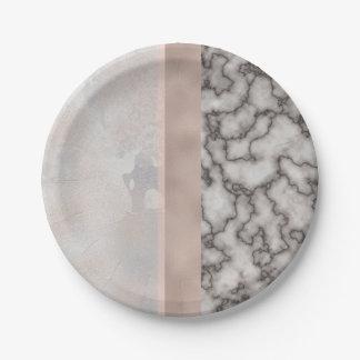 Geometric White Gray Carrara Gold Marble Pink Rose Paper Plate