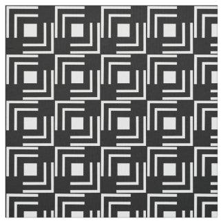 Geometric White Square Tiles on Black Fabric
