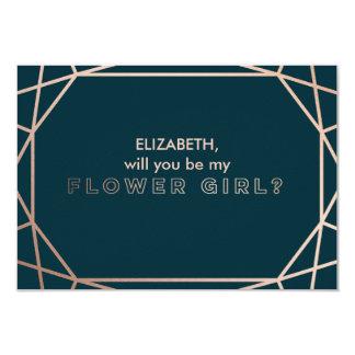"Geometric ""will you be my flower girl"" 9 cm x 13 cm invitation card"