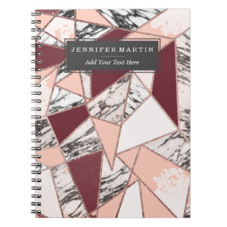 Geometric Wine Peach Marble and Rose Gold Triangle Notebook